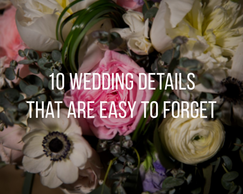 Wedding Details that are Easy To Forget